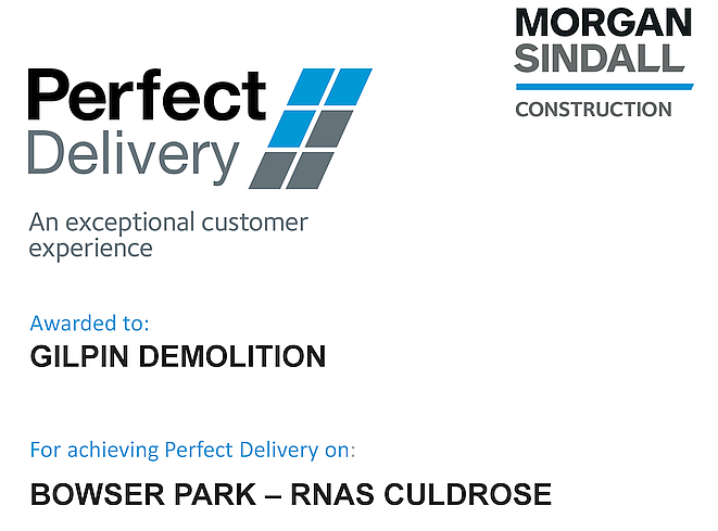 Bowser Park RNAS Culdrose - Perfect Delivery Award Certificate