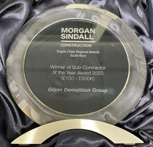 Gilpin Demolition Group were proud to accet the Morgan Sindall Subcontractor of the Year 2021 award at a recent ceremony.